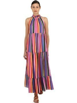 STRIPED COTTON POPLIN MAXI DRESS