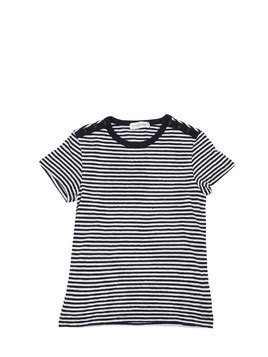 STRIPED COTTON JERSEY & LINEN T-SHIRT
