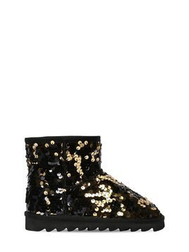 TWO TONE SEQUINED CANVAS ANKLE BOOTS