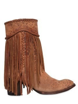 65MM PRINTED FRINGED SUEDE BOOTS