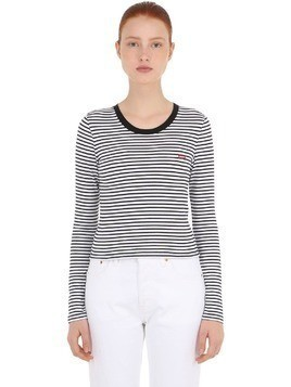 STRIPED STRETCH COTTON BLEND T-SHIRT