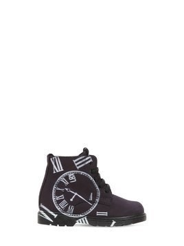 CLOCK PRINTED LEATHER ANKLE BOOTS