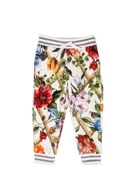 FLORAL PRINT COTTON SWEATPANTS