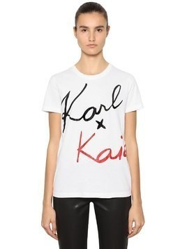 KARL X KAIA COTTON JERSEY T-SHIRT