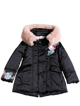 NYLON SATIN PUFFER COAT W/ FAUX FUR