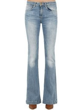 FLARED WASHED COTTON DENIM JEANS