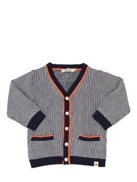 COTTON KNIT STRIPED CARDIGAN