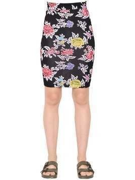 ROSE PRINTED VISCOSE JERSEY PENCIL SKIRT