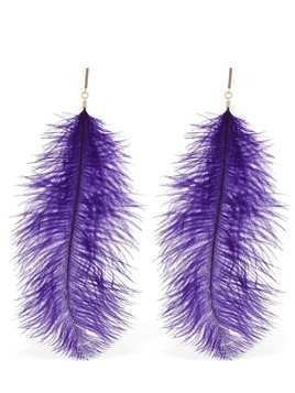 OSTRICH FEATHER STATEMENT EARRINGS
