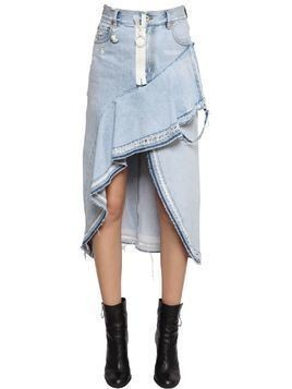 ASYMMETRICAL RUFFLED COTTON DENIM SKIRT