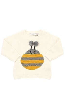 BEE INTARSIA COTTON KNIT SWEATER