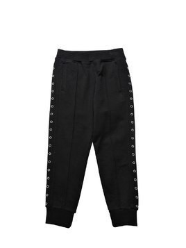 EYELETS COTTON SWEATPANTS