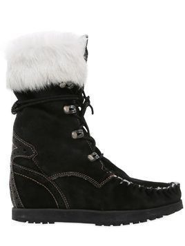 70MM LEIA LAPIN FUR & SUEDE ANKLE BOOTS