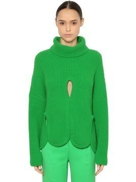 WOOL TURTLENECK SWEATER W/ CUTOUTS