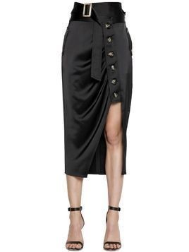 DRAPED SATIN ASYMMETRIC MIDI SKIRT