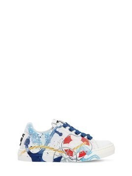 ANCHOR PRINTED LEATHER SNEAKERS