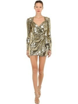 GOLD SEQUINED MINI WRAP DRESS