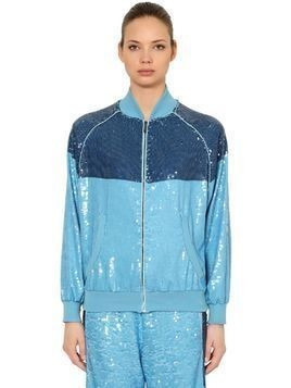TWO TONE SEQUINED TRACK JACKET