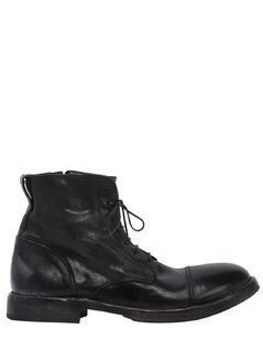WASHED LEATHER LACE-UP BOOTS