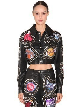 STUDS & PATCHES CROPPED LEATHER JACKET
