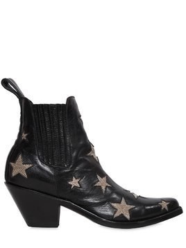 65MM STARS LEATHER ANKLE BOOTS