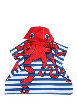 OCTOPUS PRINTED HOODED TERRYCLOTH TOWEL