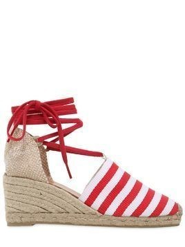 60MM STRIPED CANVAS LACE UP ESPADRILLES