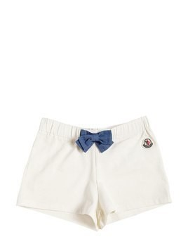 COTTON JERSEY SHORTS W/ BOW DETAIL