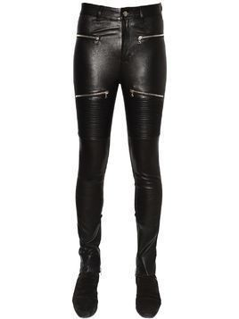 LEATHER BIKER PANTS W/ ZIPS
