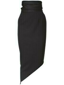 High Waist Wool Asymmetric Pencil Skirt