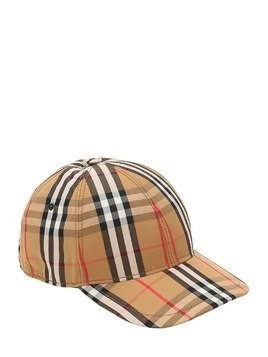 VINTAGE CHECKED COTTON BASEBALL CAP