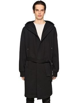 LONG HOODED COTTON BLEND COAT