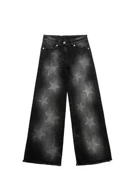 STARS PRINT STRETCH DENIM JEANS