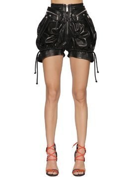 HIGH WAIST LEATHER MILITARY SHORTS