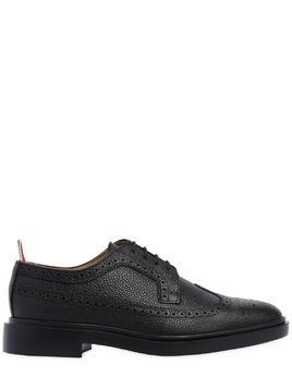 PEBBLED LEATHER WING TIP BROGUE SHOES