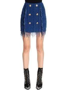 FRINGED KNIT MINI SKIRT
