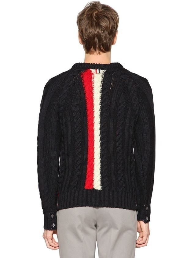 BACK INTARSIA STRIPES WOOL KNIT SWEATER