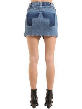 RAW CUT COTTON DENIM MINI SKIRT