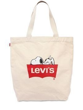 SNOOPY&LOGO PRINTED CANVAS TOTE BAG