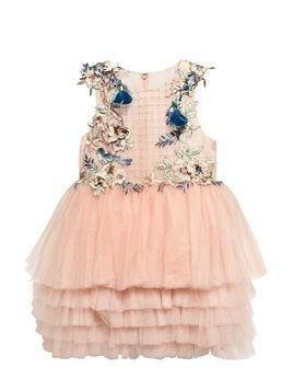 FLOWERS & BIRDS EMBELLISHED TULLE DRESS