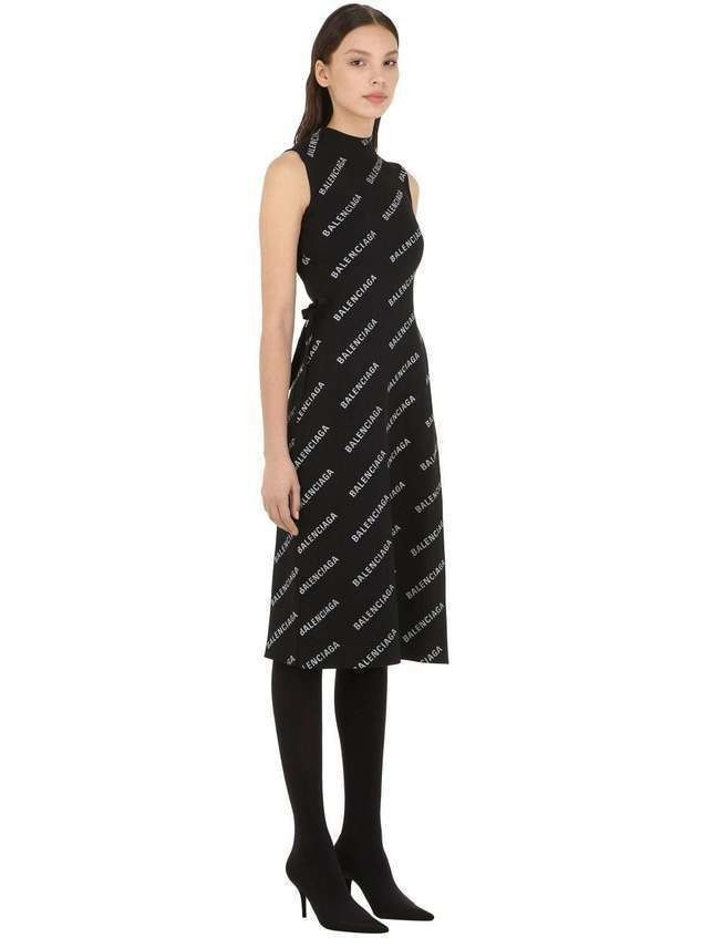 LOGO PRINTED RIB KNIT WRAP DRESS