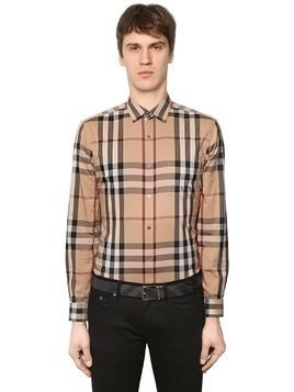 CHECK STRETCH COTTON POPLIN SHIRT