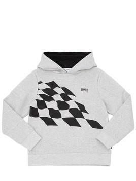 CHECKERED FLAG PRINT COTTON SWEATSHIRT