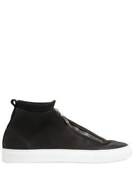 FONTESI ZIPPED NUBUCK HIGH TOP SNEAKERS