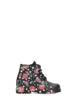 ROSES PRINTED LEATHER ANKLE BOOTS