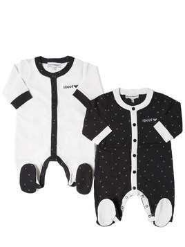 SET OF 2 COTTON JERSEY ROMPERS