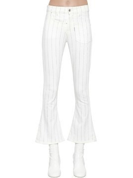TWISTED EMBELLISHED STRIPES CROP JEANS