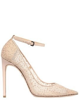 110MM GLITTERED MESH ANKLE STRAP PUMPS