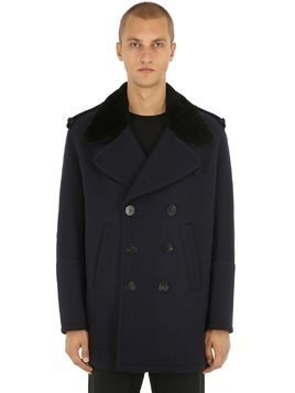 DOUBLE BREASTED WOOL & SHEARLING COAT