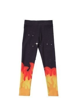 FLAMES PRINT INTERLOCK COTTON LEGGINGS